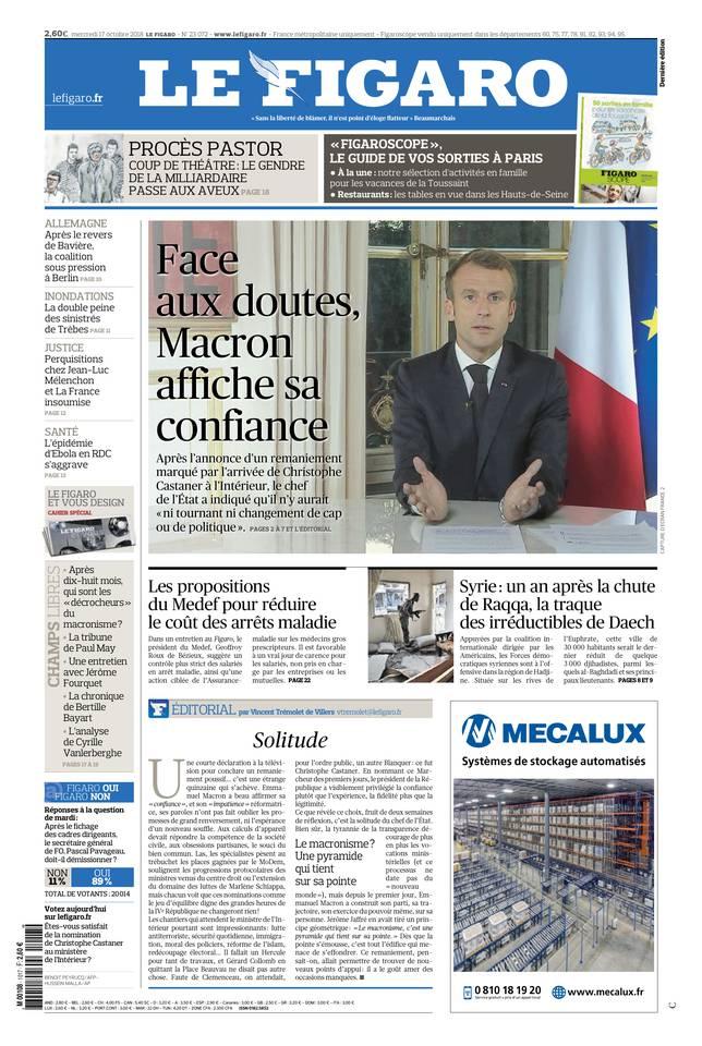 Le Figaro du 17 octobre 2018