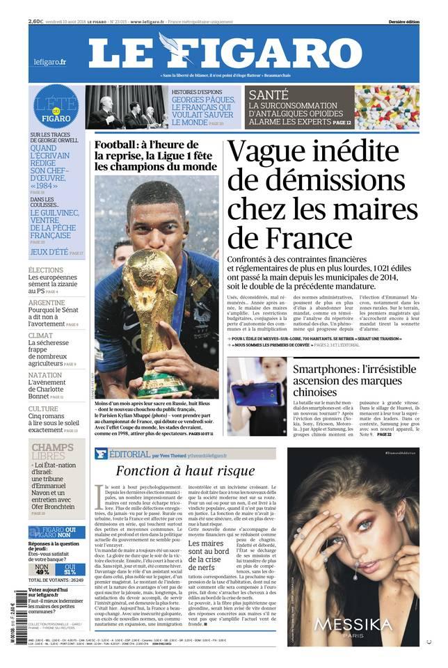 Le Figaro du 10 août 2018