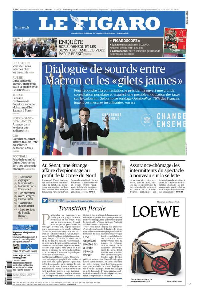 Le Figaro du 28 novembre 2018