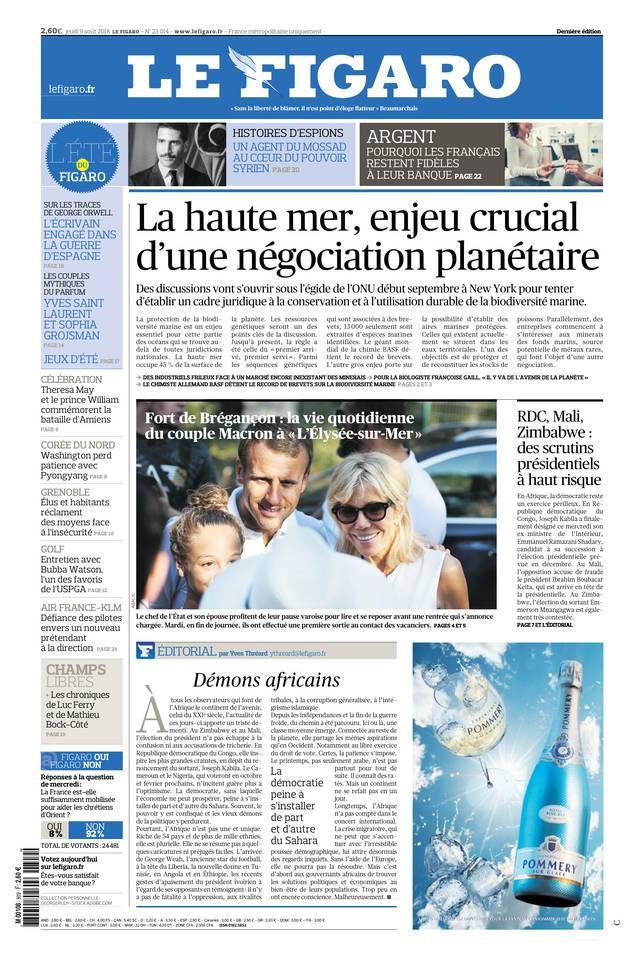 Le Figaro du 09 août 2018