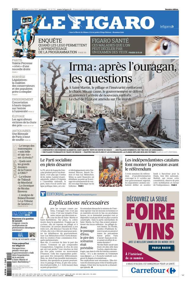 Le Figaro du 11 septembre 2017