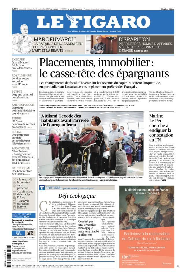 Le Figaro du 09 septembre 2017