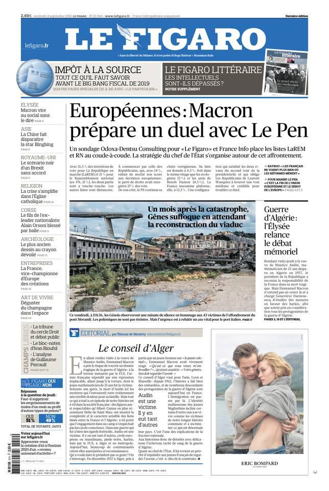 Le Figaro du 14 septembre 2018