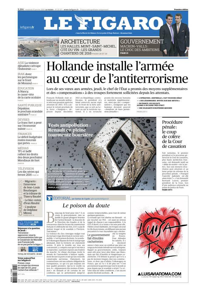 Le Figaro du 15 janvier 2016