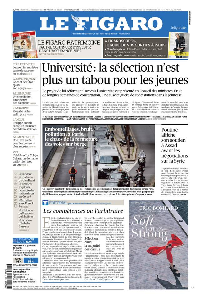Le Figaro du 22 novembre 2017