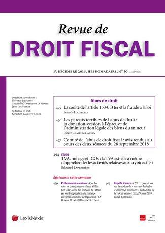 N 20 25 Mai 2018 Revue De Droit Fiscal Lexisnexis