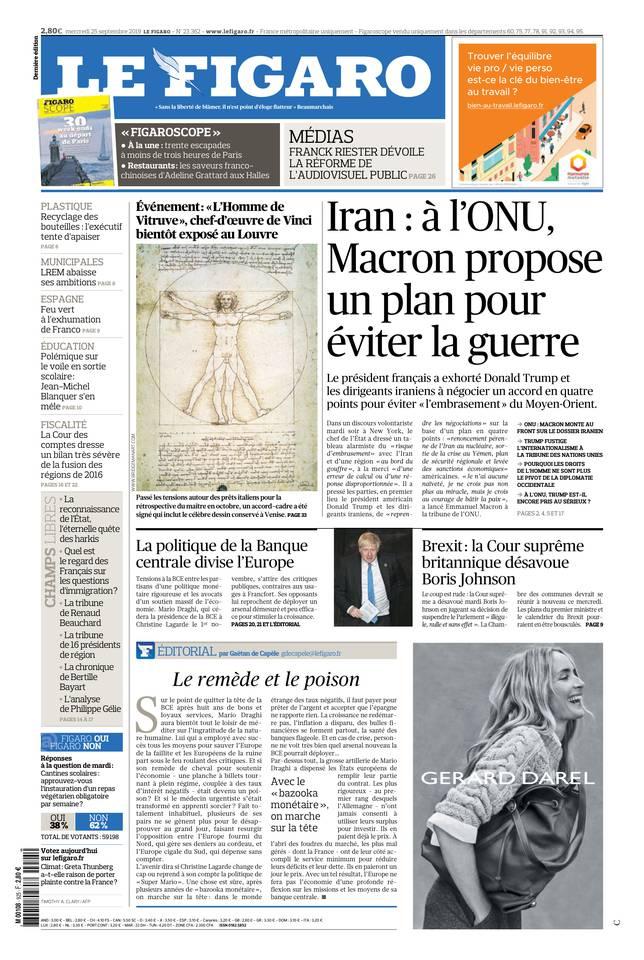 Le Figaro du 25 septembre 2019