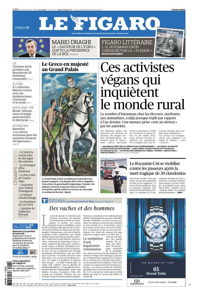 Le Figaro du 24 octobre 2019