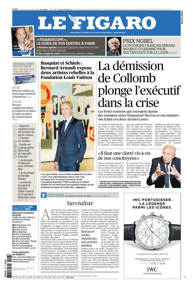 Le Figaro du 03 octobre 2018