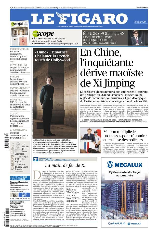 Le Figaro du 15 septembre 2021