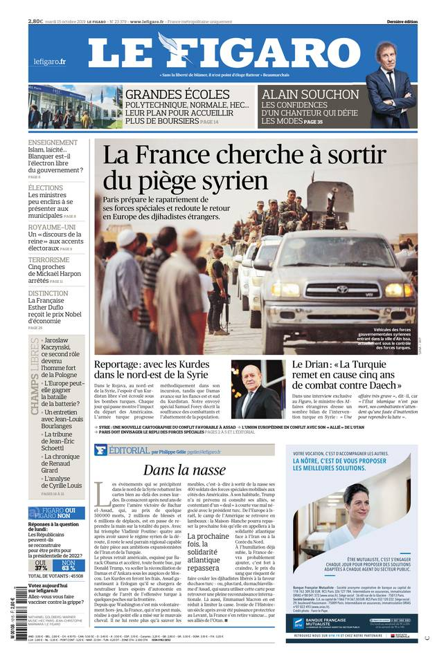 Le Figaro du 15 octobre 2019