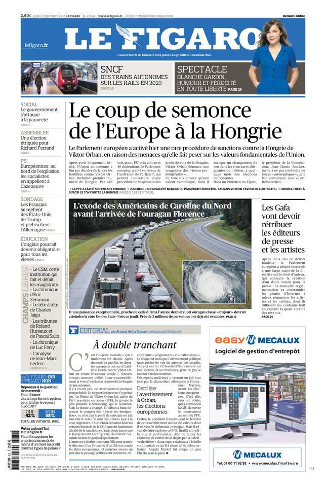Le Figaro du 13 septembre 2018