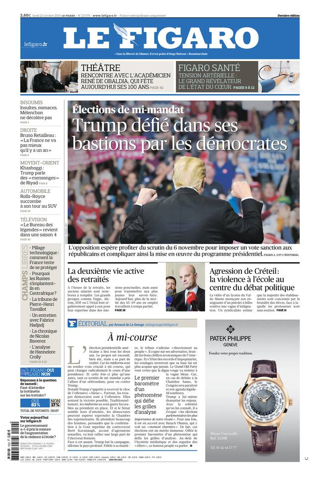 Le Figaro du 22 octobre 2018