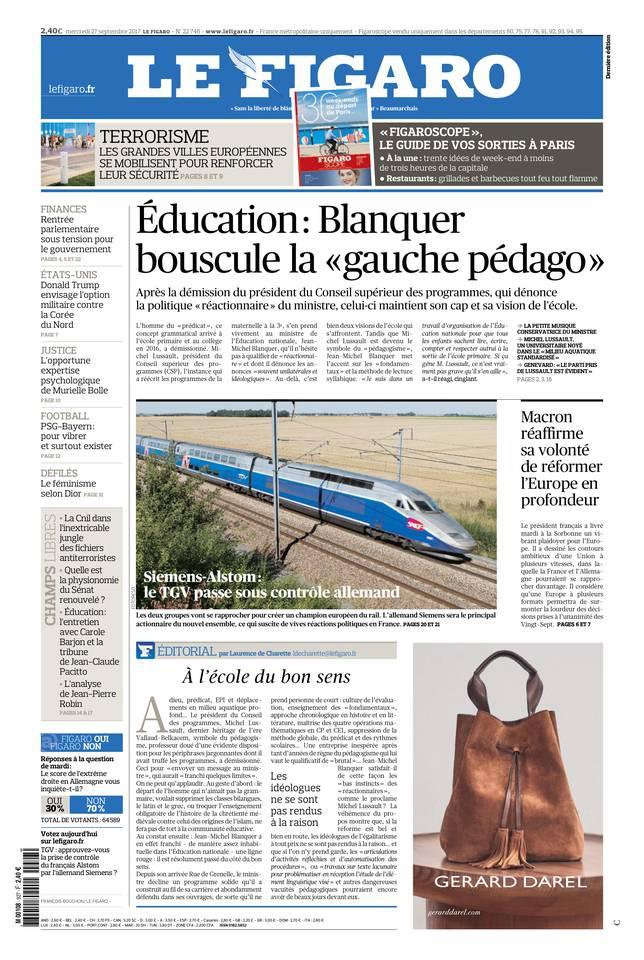 Le Figaro du 27 septembre 2017