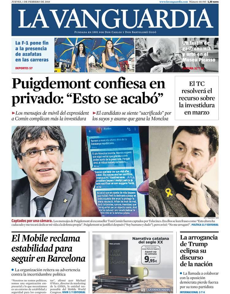 1 de febrero de 2018 - La Vanguardia - LaVanguardia