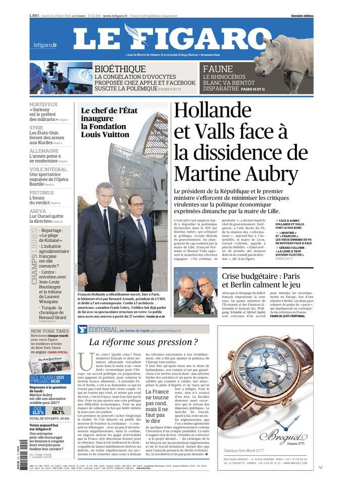 Le Figaro du 21 octobre 2014
