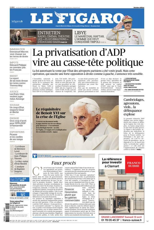 Le Figaro du 12 avril 2019