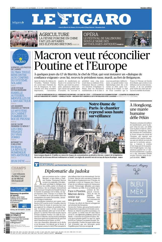 Le Figaro du 19 août 2019