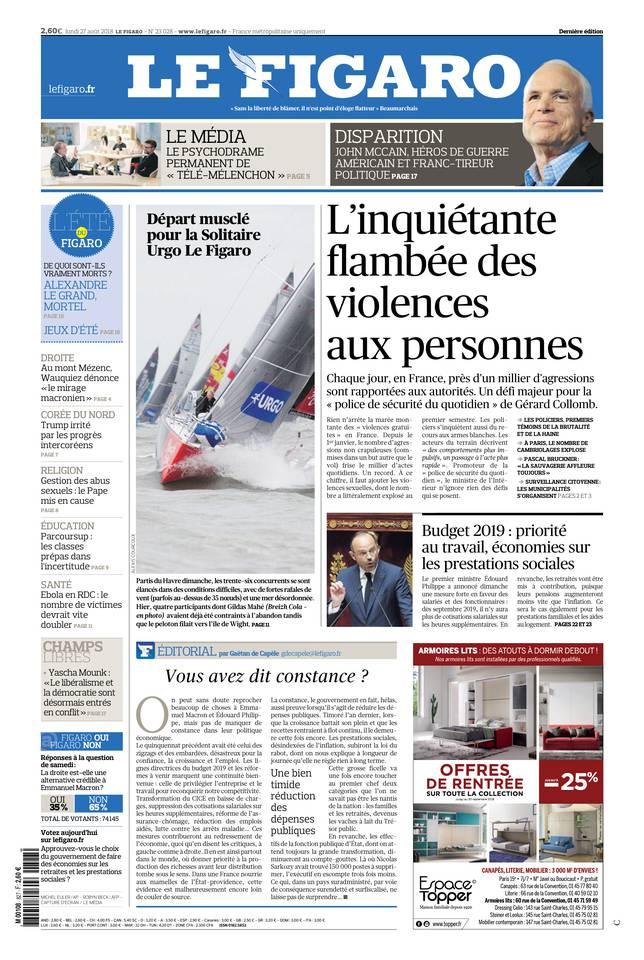 Le Figaro du 27 août 2018