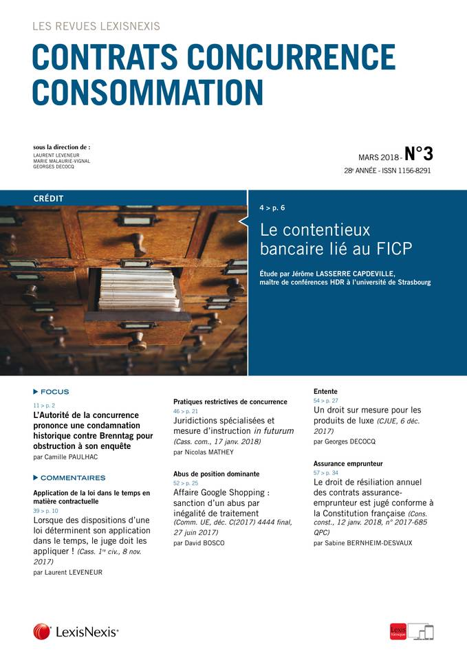 N 3 Mars 2018 Contrats Concurrence Consommation Lexisnexis