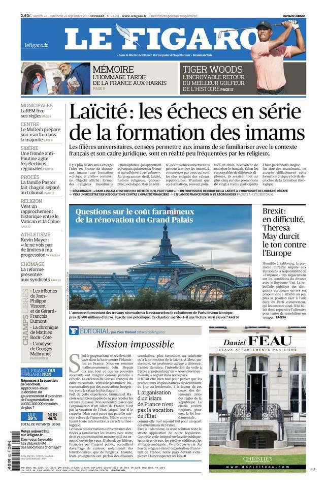 Le Figaro du 22 septembre 2018