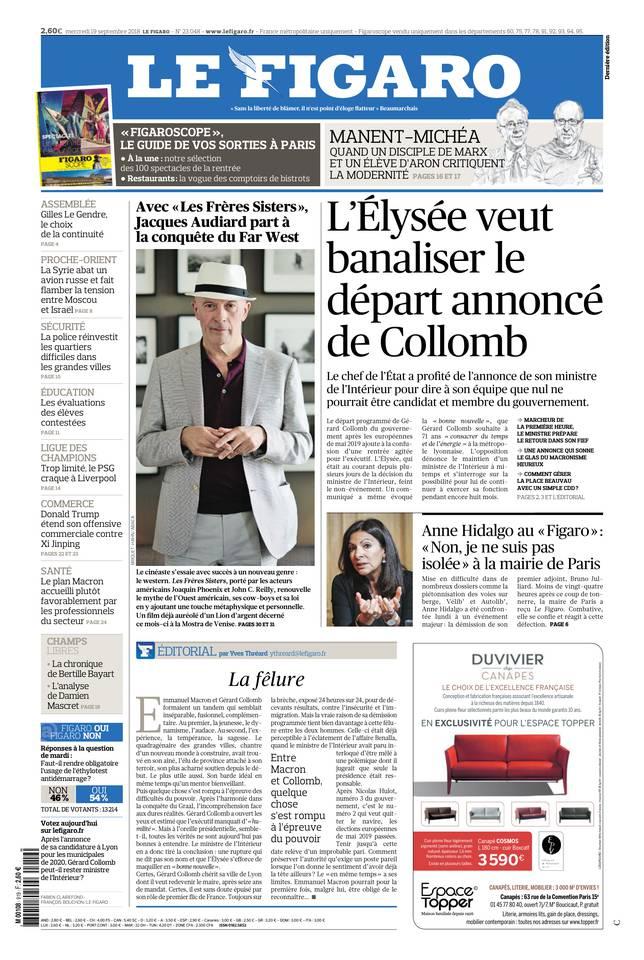 Le Figaro du 19 septembre 2018