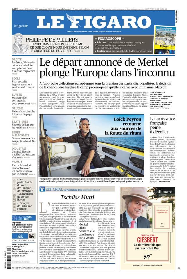 Le Figaro du 31 octobre 2018