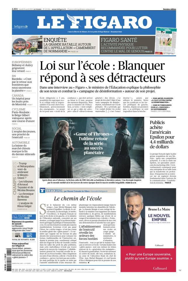 Le Figaro du 15 avril 2019