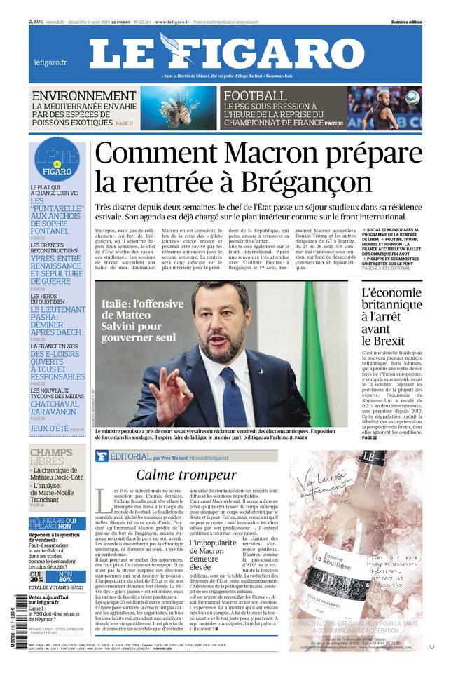 Le Figaro du 10 août 2019