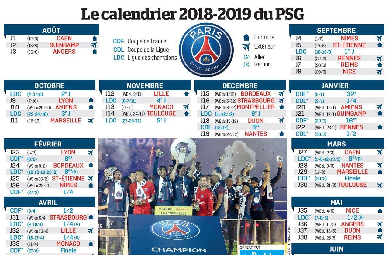 Calendrier Ligue De Champion.Le Calendrier De La Saison Du Psg A Imprimer Sfr Presse