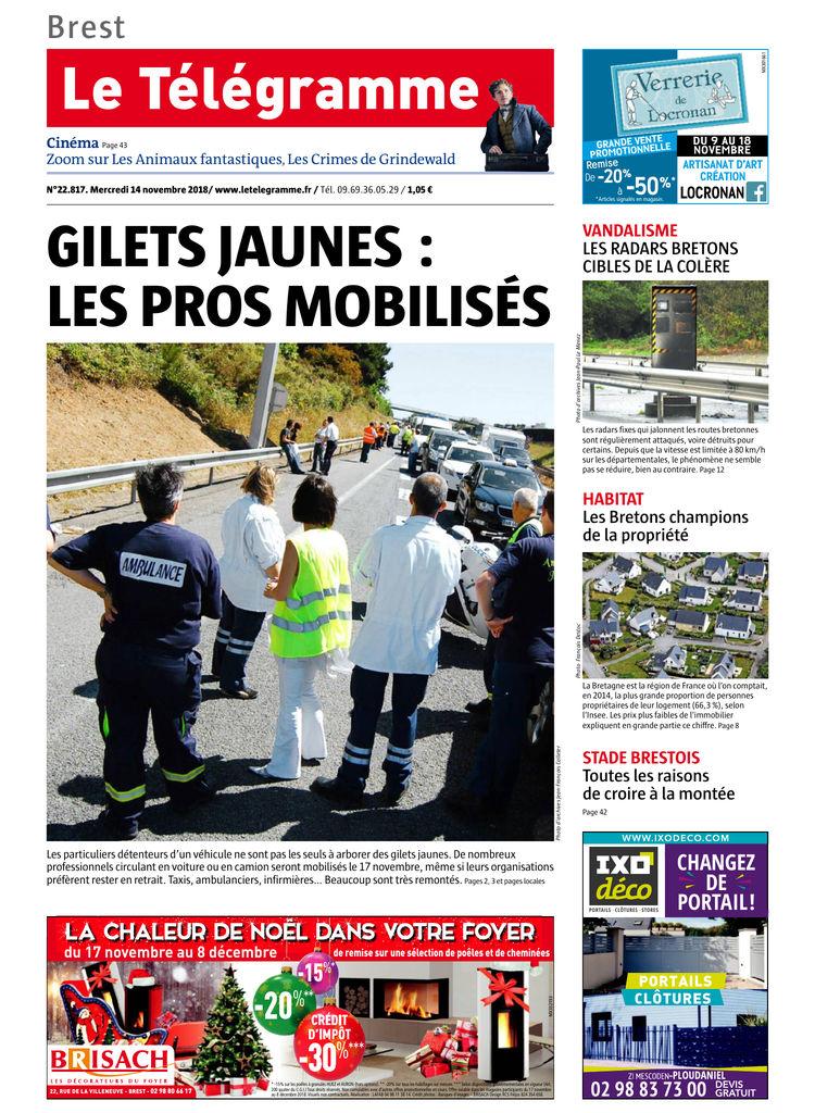 Edition Le 14 Télégramme Du Nov2018Sfr Presse UzMVqSp