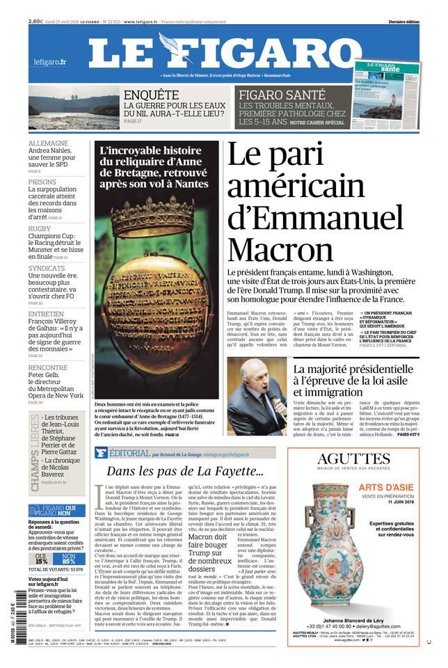 Le Figaro du 23 avril 2018 à télécharger sur iPad