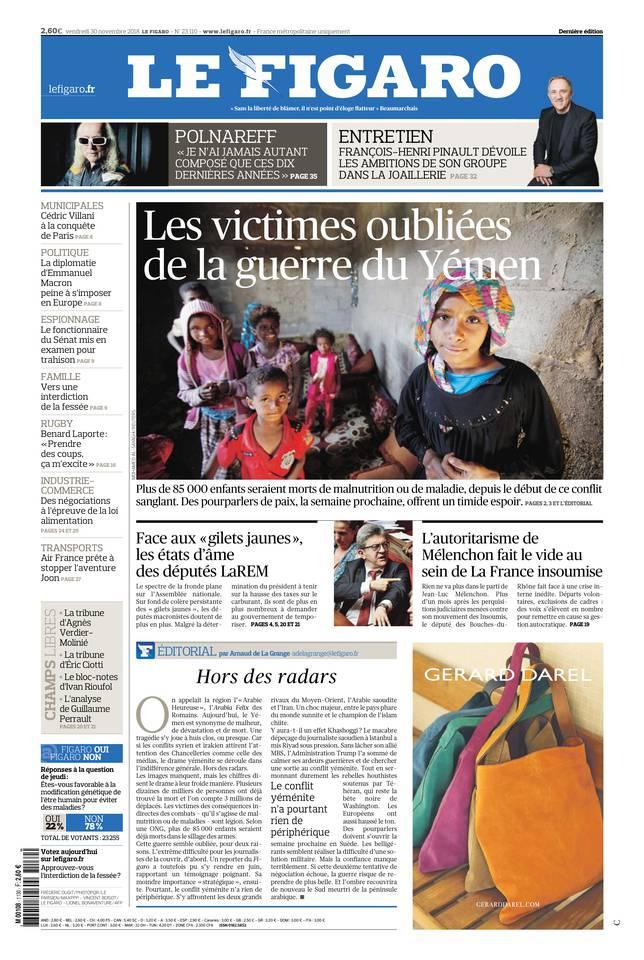 Le Figaro du 30 novembre 2018 à télécharger sur iPad