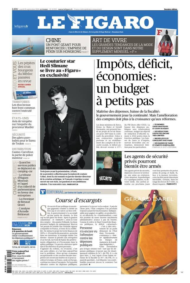 Le Figaro du 25 septembre 2018 à télécharger sur iPad
