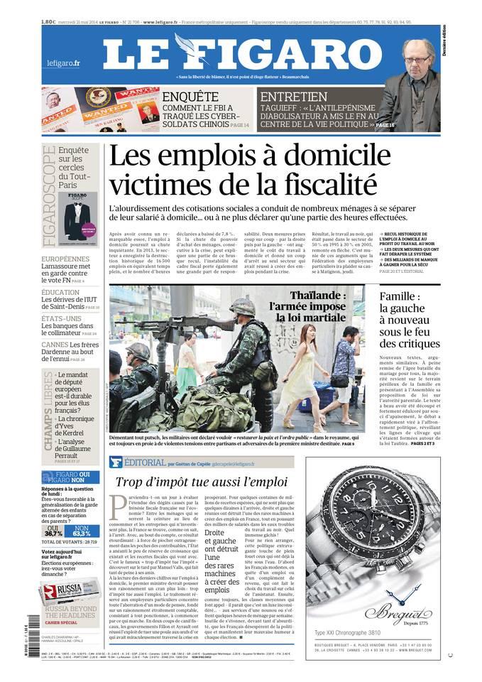 Le Figaro du 21 mai 2014 à télécharger sur iPad
