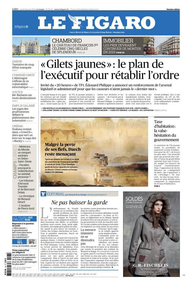 Le Figaro du 08 janvier 2019 à télécharger sur iPad