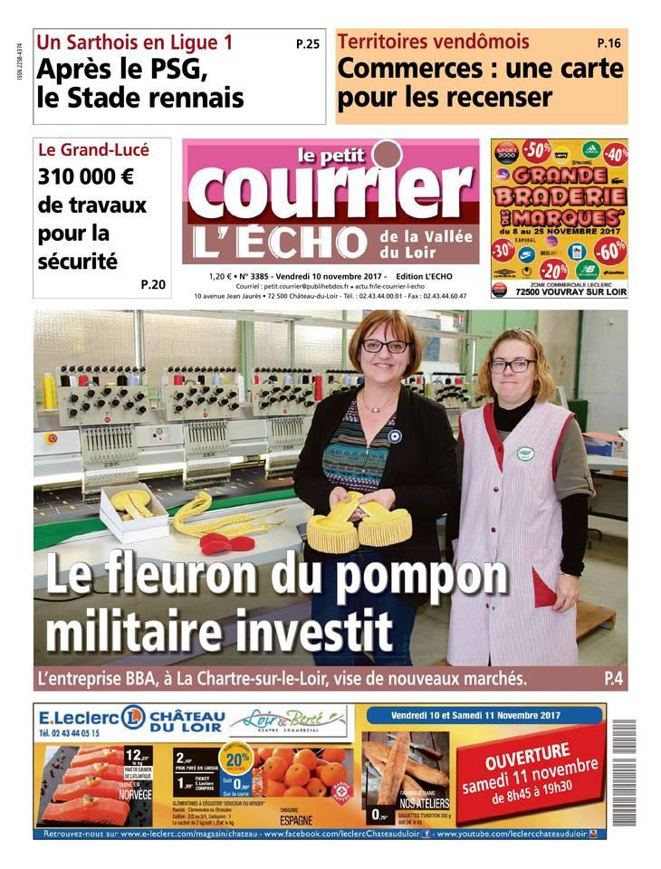 Le Petit Courrier L'Echo de la Vallée du Loir du 10 novembre 2017 à télécharger sur iPad
