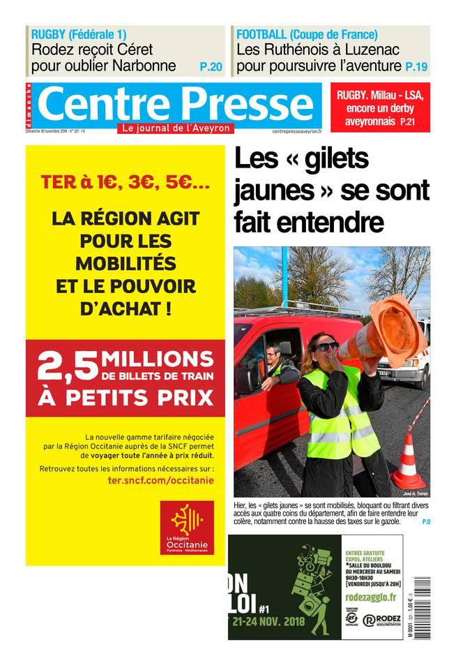 Centre Presse Aveyron du 18 novembre 2018 à télécharger sur iPad