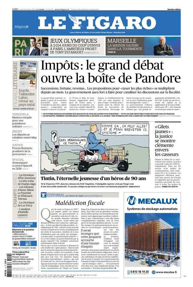 Le Figaro du 10 janvier 2019 à télécharger sur iPad