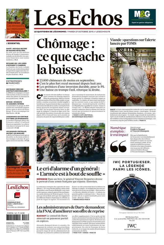 Les Echos + échos Société du mardi 27 octobre 2015[HQ]