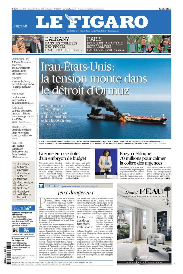 Le Figaro du 15 juin 2019 à télécharger sur iPad