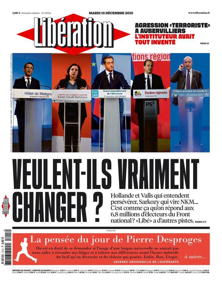 Libération du Mardi 15 Décembre 2015
