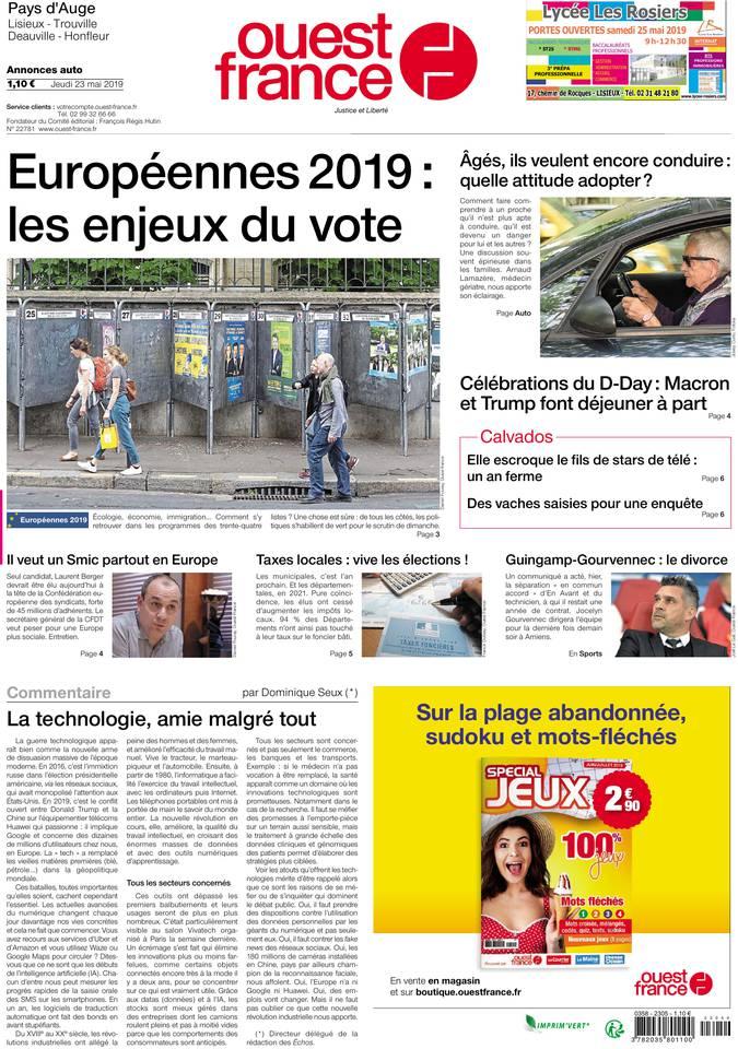 Ouest-France du 23 mai 2019 à télécharger sur iPad