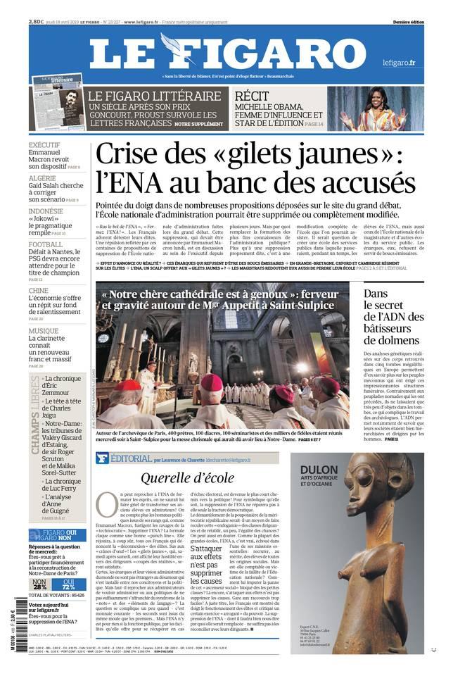 Le Figaro du 18 avril 2019 à télécharger sur iPad