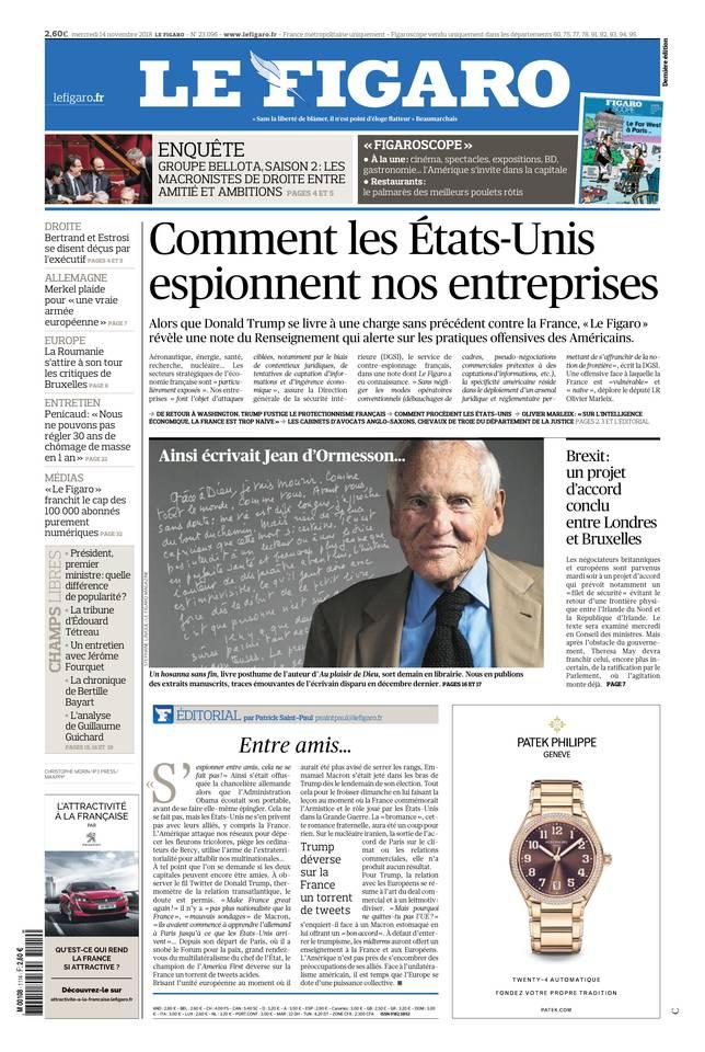 Le Figaro du 14 novembre 2018 à télécharger sur iPad