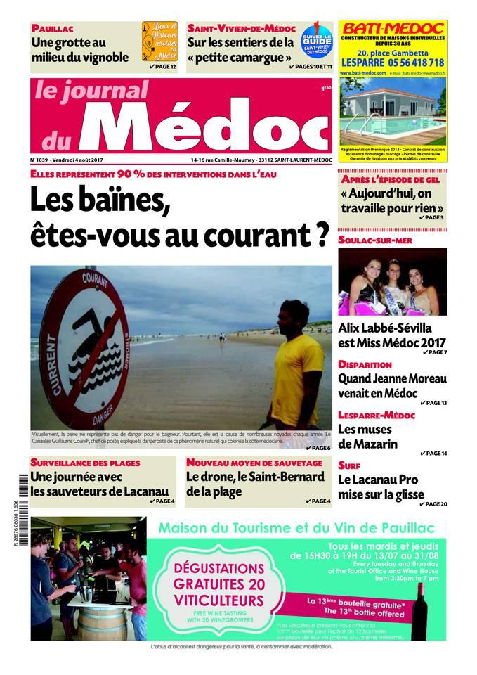 Le Journal du Médoc du 03 août 2017 à télécharger sur iPad