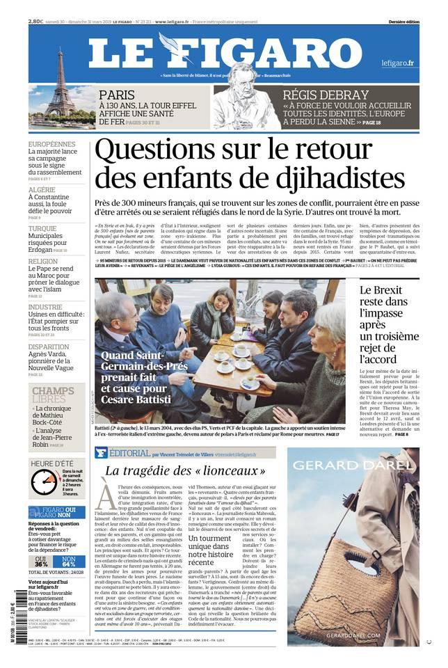 Le Figaro du 30 mars 2019 à télécharger sur iPad