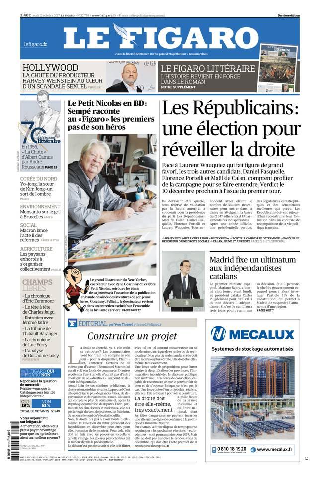 Le Figaro du 12 octobre 2017 à télécharger sur iPad