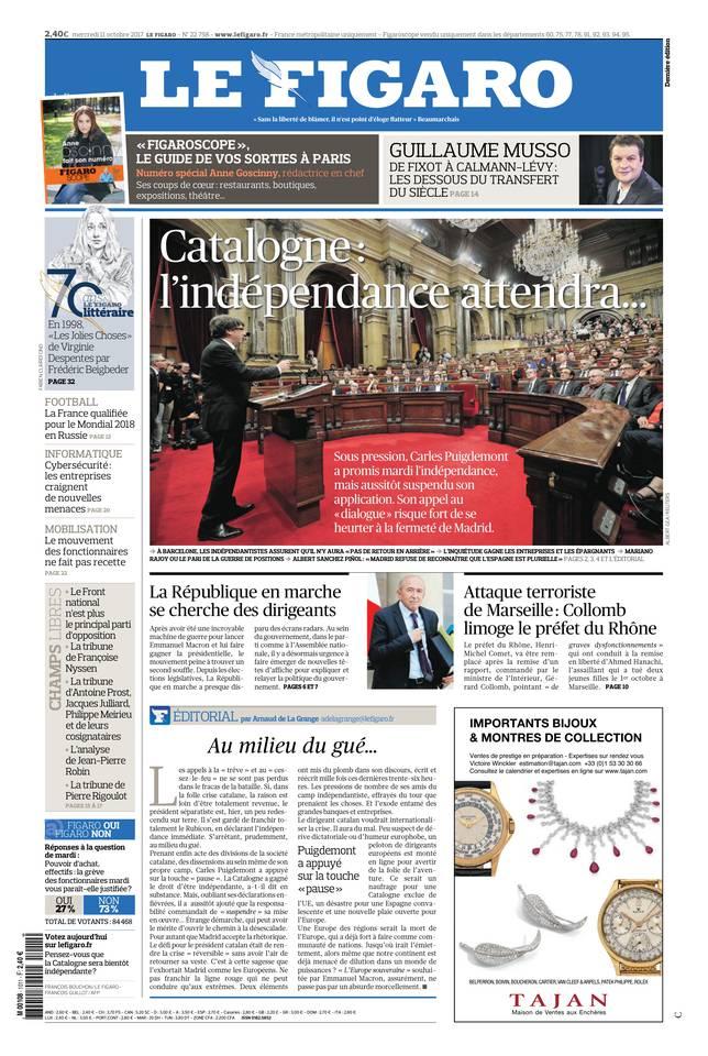 Le Figaro du 11 octobre 2017 à télécharger sur iPad