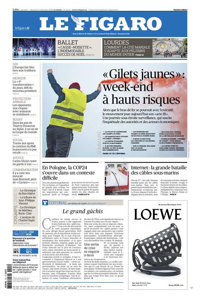Le Figaro du 01 décembre 2018 à télécharger sur iPad
